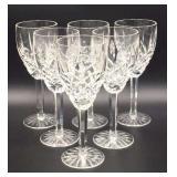 Set of 6 Waterford Crystal Stemmed Wine Glasses
