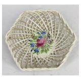 Herend Handpainted 6 Sided Reticulated Dish