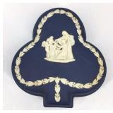 Vintage Dark Blue Jasperware Clover Trinket Box