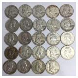 24 Franklin Half Dollar Coins