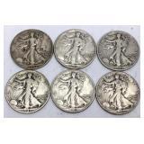 6 - 1943 Walking Liberty Half Dollar Coins