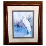 Signed and Number Jane Brown Egret Lithograph
