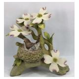 Cybis Small Bird in Nest Under Flowers