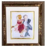Signed Watercolor of Couple Dancing