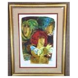 Girl with Doves by Alvar S/N Lithograph