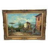 Large Tuscan Villa Scene by R. Thrower