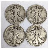 4 - 1943-D Walking Liberty Half Dollar Coins