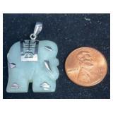 Sterling Jade Elephant Pendant