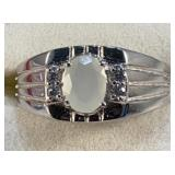 Silver White Stone Karis Ring