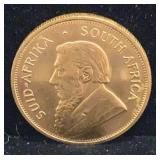 1980 One Ounce Gold South African Kruggerand Coin