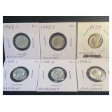 6 US Silver Dimes