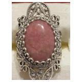 Sterling Designer Ornate Pink Stone Ring