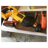 1 Dewalt Tool, 2 Black and Decker Tools