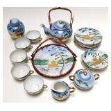 22pc Antique Lithopane Porcelain  tea set 22k