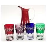 Bohemian cut crystal glasses, ruby red cut to