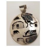 Sterling silver Native American pendant Signed WT