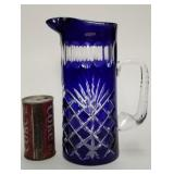 Cobalt blue Poland Crystal pitcher 111/2""