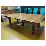 "46"" 5 pedestal Tiger Oak Dining Table with 4 leave"