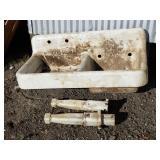 Antique cast iron porcelain farm sink with legs