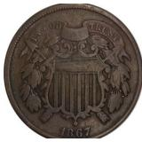 Lot 21) 1867 Two Cents VG (5485649)