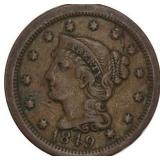 Lot 15) 1849 Large Cent Braided Hair XF (5484049)