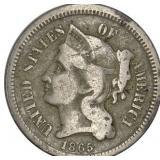 Lot 24) 1865 Three Cents Nickel VG (5486360)