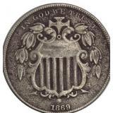 Lot 27) 1869 Shield Nickel VF25 (5487264)
