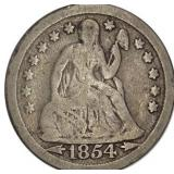 Lot 37) 1854 Arrows Liberty Seated Dime VG (5489591)