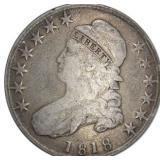 Lot 58) 1818 Capped Bust Half Dollar Silver F (5495159)