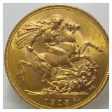Lot 50) 1918 I Gold Sovereign India Mint KM# A525 UNC Key Date (5457702)