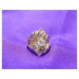 14K YELLOW GOLD RING W/ .5 CARAT CENTER DIAMOND
