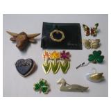 COW, SWAN & OTHER COSTUME BROACHES & PINBACKS
