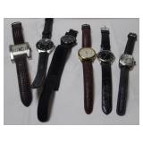 SIX(6) WRIST WATCHES W/ LEATHER BANDS
