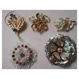 FIVE(5) DIFFERENT FLORAL BROACHES