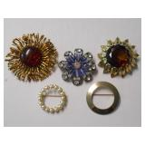 EMMONS FLOWER PIN AND FOUR(4) OTHER BROACHES