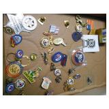 LARGE ASSORTMENT OF PINS, STAMPS & MORE