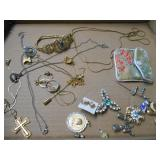 ASSORTED COSTUME BROACHES,HATPINS, NECKLACE &