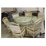 Glass Top Wicker Table & 6 Chairs