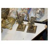 Pair of Brass Eagle Candle Holders