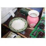 Wedgwood Bowl & Pink Vase