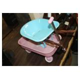 Small Metal Toy Wagon & Wheel Barrow