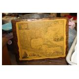 Vintage Map on Wooden Display,20x16