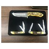 New Uncle Henry 3 pc Hunting and Pocket Knife Set