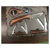 New Old Timer 3 pc Knife Set w/ Keychain in Tin