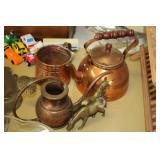 Brass Horses,Copper Kettle & Watering Can