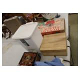 Vanity Waste Basket  & Wooden Box