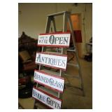 Open/Antiques/Gifts Wooden Ladder Sign