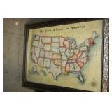 Framed US Map,24x35