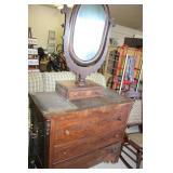 Antique Dresser & Mirror with Glove Box,42x21x72