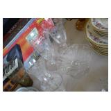 Lot of Etched Glass Stems & Dish
